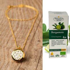 Collier diffuseur Calicea + huile essentielle de Bergamote Bio