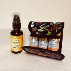 pochette de rangement huiles essentielles - détente et beauté - l'essentielle noire